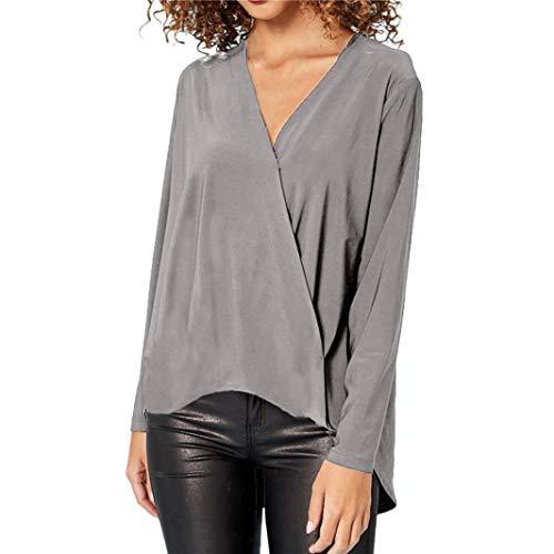JUTOO Mode Damen Chiffon Solid T-Shirt Büro Damen V-Ausschnitt Langarm Bluse Top(Grau,EU:48/CN:2XL)