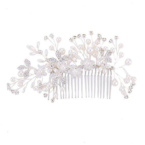 HimanJie HimanJie Perle de cheveux peigne alliage d'argent strass feuille disque décoration de cheveux Elegant Femme Mariage Accessoires alliage d'argent