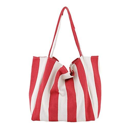 Romantic-Z Gestreifte große Segeltuch-Einkaufstasche für Frauen Summer Beach Weiche große Handtasche Weibliche große lässige Tasche mit hohem Tragegriff Drop Ship,Wide Stripe Red -