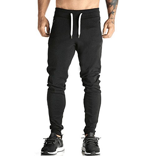 (Yvelands Herren Sportwear Hosen Harem Sweatpants Slas Casual Jogger Dance Baggy(L,Schwarz))