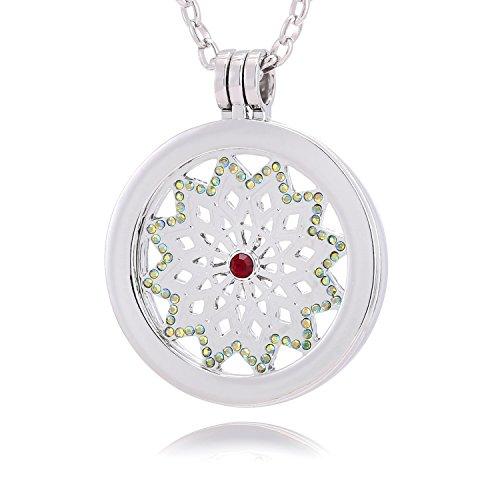 Morella® Damen Halskette 70 cm Edelstahl und Anhänger mit Coin Sternfänger silber 33 mm im Schmuckbeutel