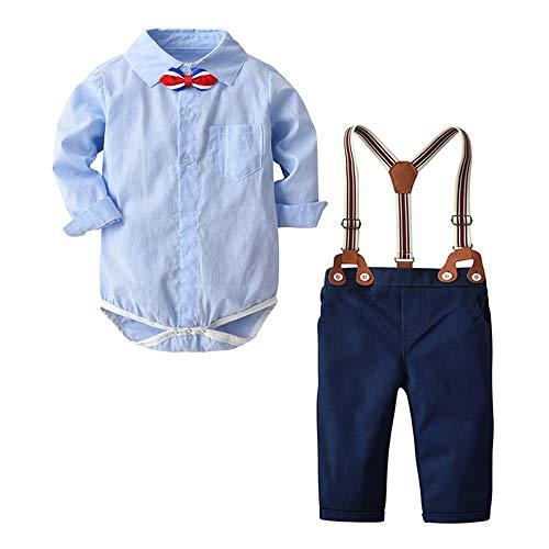 Mbby Tute Ragazzo Camicia con Tie e Pantaloni con Bretelle 2 Pezzi 0 3Anni Ragazzi E Ragazze Invernale Autunno Manica Lunga Cotone Caldo Tuta