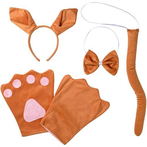 Kostüm Set Känguru für Erwachsene, Haarreif mit Ohren, Handschuhe, Fliege und Schwanz ()