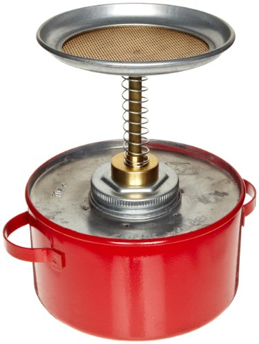Eagle P-701 Plunger Galvanized Steel Safety Can, 1 Quart Capacity, Red -