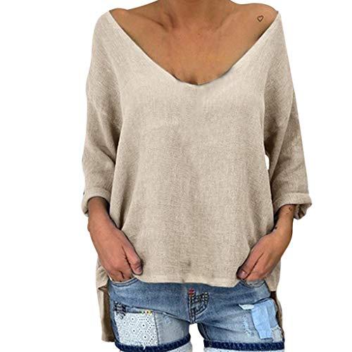 MCYs ❤ Damen Langarm V Ausschnitt Normallack Lose Beiläufige Bluse