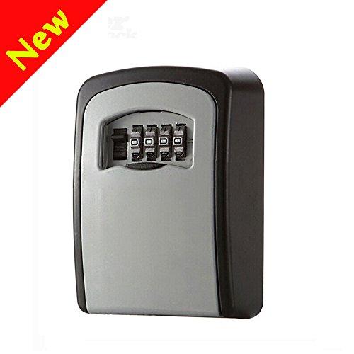 Schlüssel Aufbewahrung Security Lock, W-Unique Wandmontage Outdoor Schlüsselsafe Speicher Verschluss Kasten mit 4-stelligem Zahlenschloss, zu teilen und Ihre Schlüssel sicher für Zuhause, Büro, Garage etc. (Auto-tür Unten)