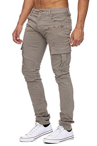 MEGASTYL Herren Biker Jeans Hose Cargo Taschen Stretch-Denim Slim Fit Khaki