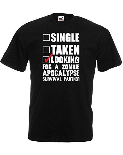 Looking For A Zombie Apocalypse Survival Partner, Mann Gedruckt T-Shirt - Schwarz/Weiß/Rote (Apocalypse Shirts Zombie T)