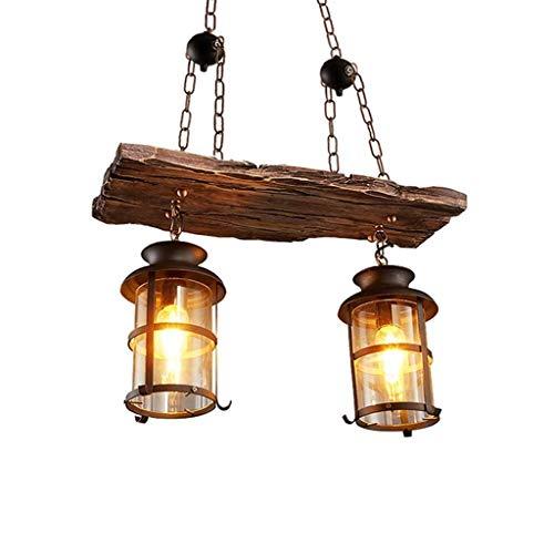 Retro lampada a sospensione in legno lampadario a sospensione vintage industriale illuminazione interna lampadario paralume in ferro e vetro altezza regolabile per sala da pranzo bar apparecchio