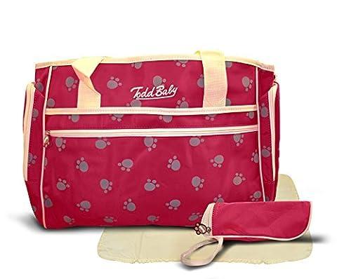 Todd bébé officielle NEUF 3PC Paw Rouge matelassé Ensemble de support de bouteille élégante à langer Sangle 35,1x 40,1x 7,1cm Sac à bandoulière