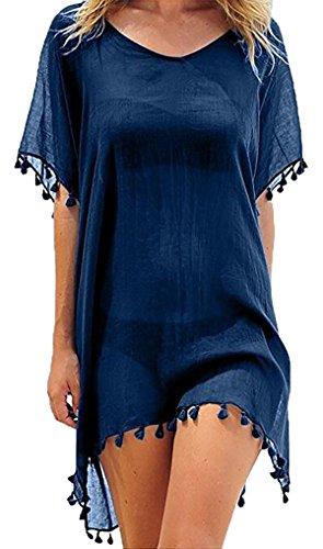 Damen Strandkleid Sommerkleid Bikini Cover Up Sommer Bademode Longshirt Tunika Strandponcho (Dunkelblau)