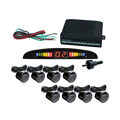 Hengda Einparkhilfe 8 Sensoren Rückfahrsystem mit LED Farb Display Parkhilfe in Schwarz
