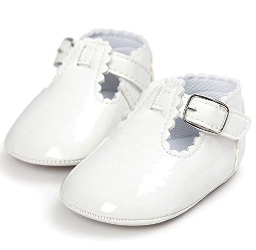 Neugeborene Baby Leder Kleinkind Schuhe Covermason Rutschfest Weiche Sohle Krippe Schuhe Weiß B