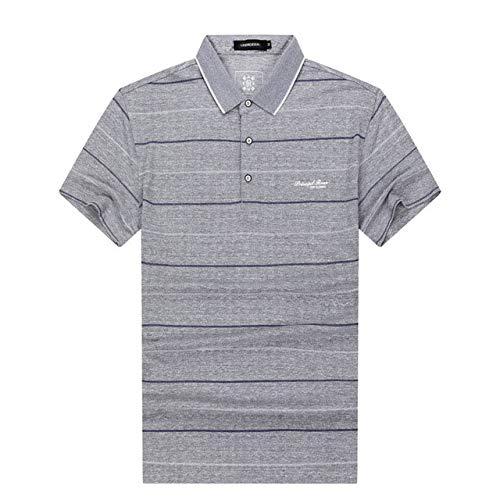OLLOLCCY Herren Kurzarm Lässige gestreifte Baumwolle Revers Brief Gesticktes Polo-Shirt M-3XL,Gray,XL (Von Ralph Pack Lauren Polo-shirts)
