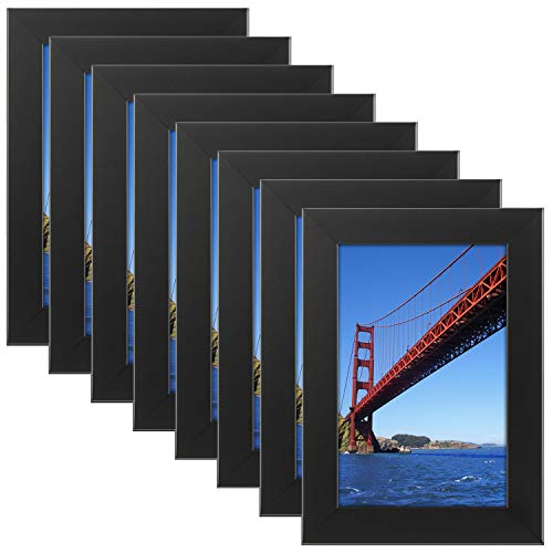 Tempered Glas 4x 6Bilderrahmen Schwarz Holz Rahmen für Wand- und Tischplatte (Befestigungsmaterial im lieferumfang Enthalten) 8PCS 4x6 Schwarz (Bilderrahmen Glas 4x6)