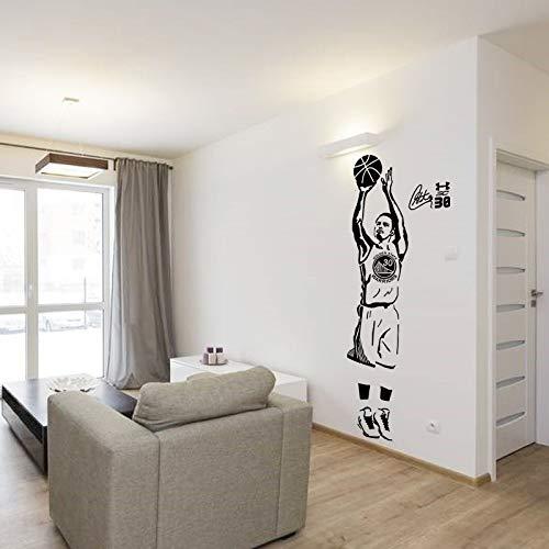 Wandtattoos, Wandtattoos, Wandkunst, Wandtattoos, Sportstar Basketballspieler Wandtattoos Curry-Aufkleber für Jungenzimmer und Schule Einfache Paste mit abnehmbaren 44x120 cm