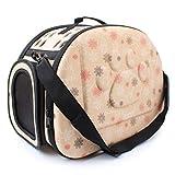 Pet Bag, Stampare Impronta Portatile Portatile Cane Gatto Pieghevole Viaggio Valigia Gabbia Tracolla, Rosa Beige Grigio,Beige