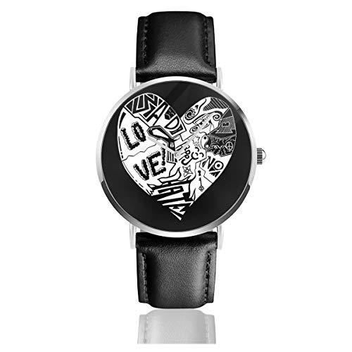 Unisex Business Casual Weiß Herz Inertia Uhren Quarz Leder Armbanduhr mit schwarzem Lederband für Männer Frauen Young Collection Geschenk -