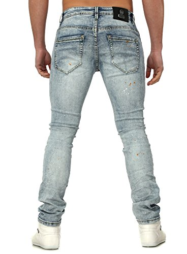 Dur Soda Homme destroyed jeans BREST Mince Fit Regardez avec Farbflecken Millésime Style Bleu clair