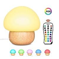 مصباح ليلي من Gluckluz مع تحكم عن بعد، مصباح مكتب الفطر اللاسلكي لغرف الأطفال، إضاءة LED سيليكون ناعم مع خشب مطاطي، 4 أنماط ضوئية و 16 لون (مقبس المملكة المتحدة)
