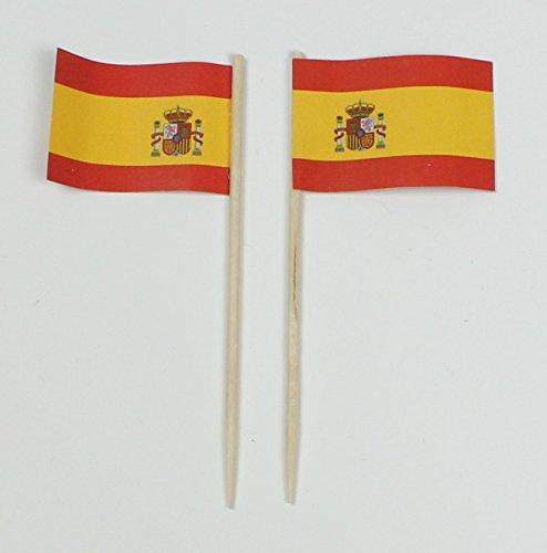 Party-Picker Flagge Spanien Papierfähnchen in Profiqualität 50 Stück 8 cm Offsetdruck Riesenauswahl aus eigener Herstellung
