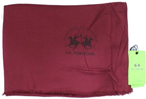 La Martina Sciarpa Unisex Pashmina Made in Italy Cm 190x65 Bordo