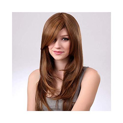 Natürliche braune Mode Frauen Perücke Hochtemperatur lange lockige Haare Cosplay Chemiefaser Party Perücke