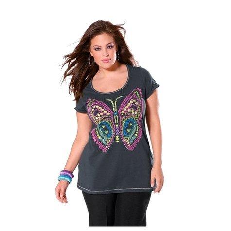 815702 BUFFALO Shirt Glitzerprint grau Gr. 44/46 neu (Buffalo Damen T-shirt)