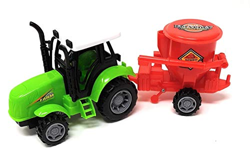 EWTG L 25cm Traktor Spielzeug Trekker Großer Schlepper Mit Agrar-Anhänger Steuer Streu-Anhänger