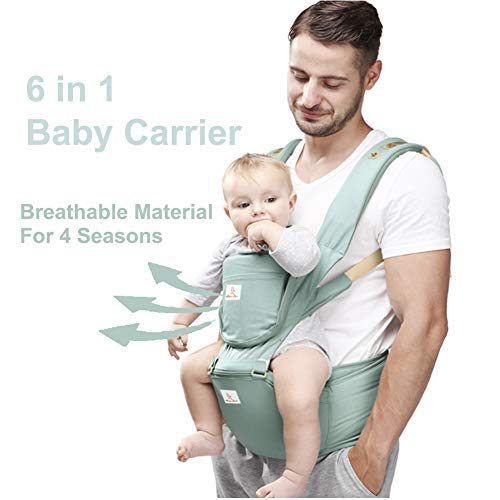 Baby and Child Carrier Hip Seat 6 in 1 Egornomic Designed Hands Free for All Seasons, Easy Breastfeeding, No Infant Insert Needed, Adapt to Growing Baby (Newborn, Infant & Toddler) (Green)  GossipBoy