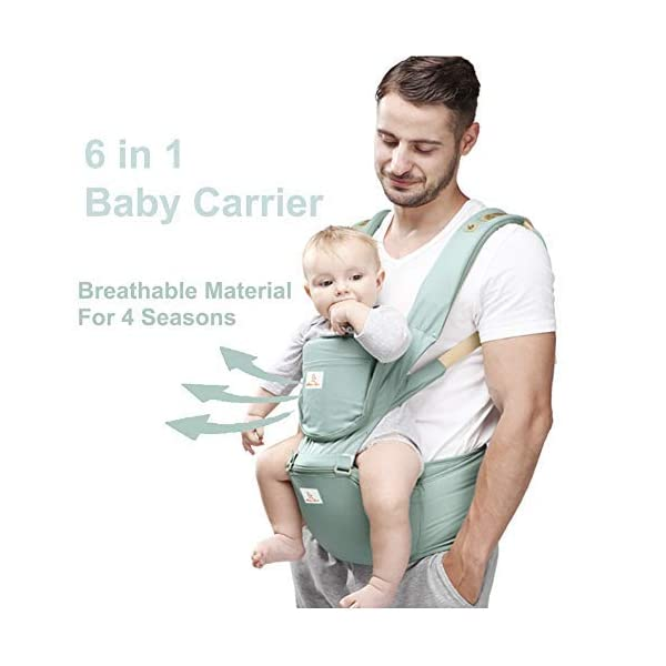 Baby and Child Carrier Hip Seat 6 in 1 Egornomic Designed Hands Free for All Seasons, Easy Breastfeeding, No Infant Insert Needed, Adapt to Growing Baby (Newborn, Infant & Toddler) (Green) Gossipboy  1