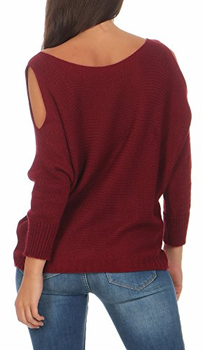 Design Frauen Mode (malito Damen Pullover cold-shoulder Design | Longsleeve im Grobstrick Look | Strickpullover – Rundhals - Oberteil – 7335 (bordeaux))