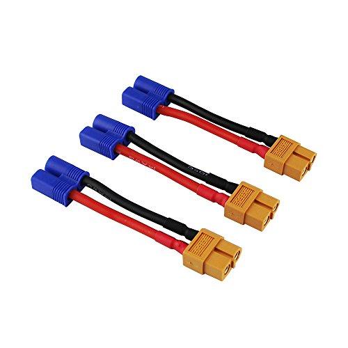 OliYin 3 stücke Männlichen EC3 zu Weiblich XT60 XT-60 Stecker Adapter Konverter Kabel 14awg 1.96in für RC Lipo Batterie (Packung von 3) -