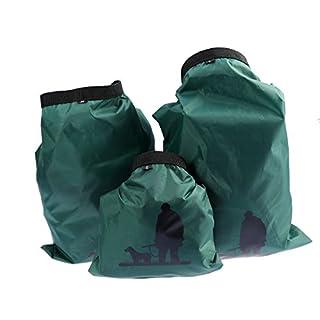 UEETEK 3 Stück / Set Wasserdichte Trockenbeutel,Ultra-light Nylon Packsacks für Camping Bootfahren Kajakfahren Rafting Angeln, ideal zum Speichern von Mobiltelefonen, Kamera, Schuhe, Armeegrün,(1,5 L + 2,5 L + 3,5 L)