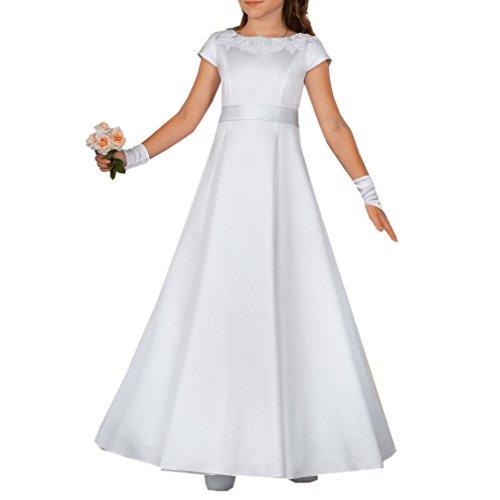 Celebration Kommunionkleid Kleid für Kommunion mit Reifrock Festkleid schlicht elegant weiß lang...