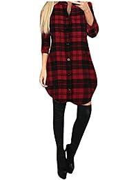 FORH Damen Elegant Karierte Sweatshirt Bluse Casual Langarm Trachtenhemd  ButtonHemden Oversize Long Cardigan MiniKleid Freizeit… 715454d880