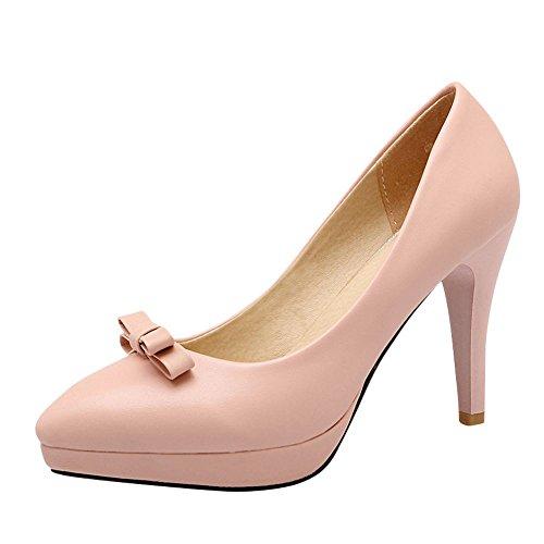 Sapatos Damen Com Saltos Altos Bombas Plataforma Geschlossen Rosa