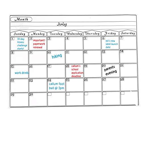 Magnetisches Whiteboard A3 Dry Erase Kühlschrank Kalender Nützlicher Menü-Planer für Erwachsene und Kinder Memo oder wöchentliche Einkaufsliste für Küche Büro Zuhause 42x30 cm (Auf Einen Blick Monatliche Kalender)