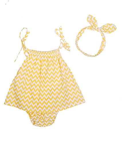 Oceankids Baby Mädchen Body Zickzack-Streifen Spieler mit Haar-Band Gelb 6M 3-6 Monate (End Lands Kinder-fleece)