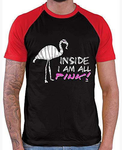 HARIZ  Herren Baseball Shirt Inside I Am All Pink Flamingo Halloween Kostüm Horror Umhang Plus Geschenkkarte Black/Red L