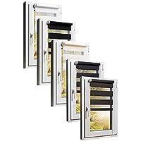 TEXMAXX Fensterrollo Duo-Rollo Doppelrollo Sonnenschutz mit Kettenzug und Klemmfix ohne bohren in SCHWARZ, Leisten in Weiss - 80 x 150 cm - inkl. Zubehör