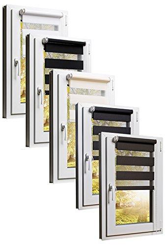 TEXMAXX Fensterrollo Duo-Rollo Doppelrollo Sonnenschutz mit Kettenzug und Klemmfix ohne bohren in BRAUN, Leisten in Weiss - 120 x 150 cm - inkl. Zubehör