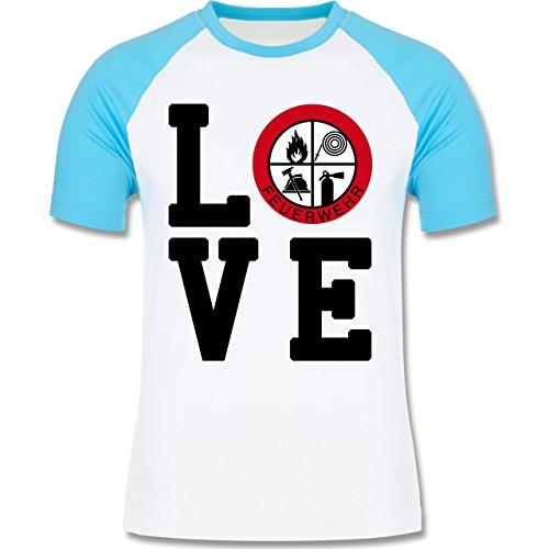 Feuerwehr - LOVE Feuerwehr - zweifarbiges Baseballshirt für Männer Weiß/Türkis