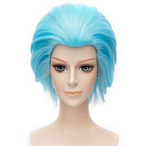 NiceLisa Masquerade Evening Party Cosplay Peluca Corta Azul claro Slick Back Hombre Anime Juegos de rol Pelucas