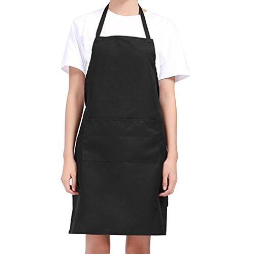 Unisex Delantal de Cocina, Mantil con correas de cuello ajustable y Bolsillos para Cocinar Hornear Asar de Negro