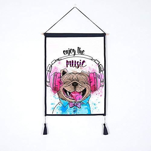 Affiche Hôtel Affiche Toile Peinture Décoration Tapisserie Suspendus Tissu Chien Fond Tissu Café Restaurant Salon De Coiffure Boutique De Fleurs Toile Peinture Animalerie Suspendus Photo-5_45X65Cm