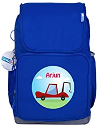 UniQBees Personalised School Bag With Name (Smart Kids Large School Backpack-Blue-Tow Truck)