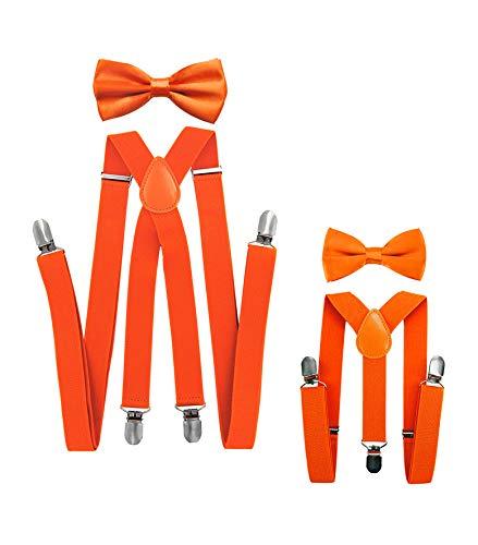 Axy - look coordinato padre-figlio, bretelle con papillon set per uomo, donna, bambini. arancione orange (herren 2,5cm + kinder hosenträger breit 2,5cm)