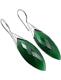 Exklusive Ohrhänger grüner Onyx 13 Karat 925 Sterling Silber Marquiseschliff in Juweliers- Qualität