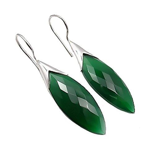 Unique Exklusive Jugendstil Ohrhänger grüner Onyx Tropfen eingefasst in 925 Sterling Silber...